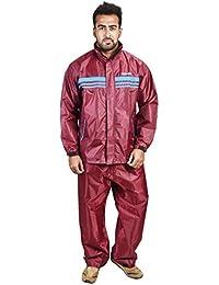 Newera Men's Biker Raincoat Suit (Maroon)