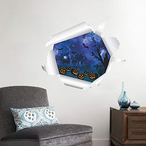 Dekoration 3D-Türaufkleber Wandaufkleber Papier Aufkleber Beängstigend Ghost Castle Kürbiskopf DIY Sticker 50X55cm * 3Pcs ()