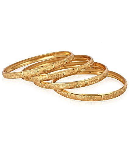 Jewels Galaxy Well Crafted Gold Plated Set Of 4 Bangle Set For Women