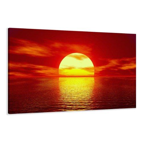 bestpricepictures 120 x 80 cm Bild auf Leinwand Sonne 5094-SCT deutsche Marke und Lager - Die Bilder/das Wandbild/der Kunstdruck ist fertig gerahmt