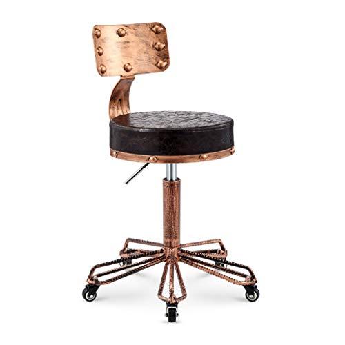 Calyvina Retro Industrie-Stil Stuhl mit Rückenlehne Salon Hocker Höhenverstellbar Roll Schwenker Bürostuhl Massage Spa Hocker,brown2