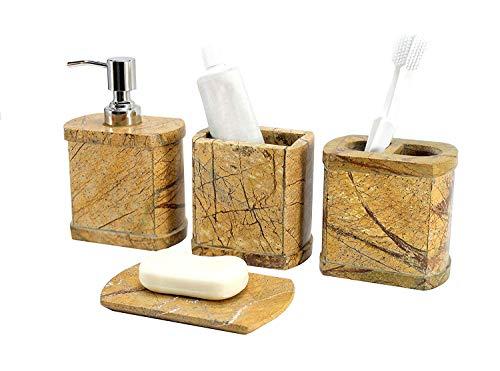 KLEO Luxus 4-teiliges Badezubehörset | Inklusive Flüssigseife oder Lotionspender mit Edelstahlpumpe, Zahnbürstenhalter, Becher, Seifenschale - Bath Set/Bathroom Accessories