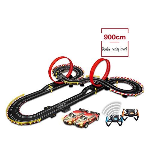 LINGLING-Verfolgen Track Racing Elektro-und Handkurbel Slot Track Racing Spielzeug Kinder Track Racing Boy Double Track Car Set (Color : Hand+Electric+4 car+20 Brush, Size : 9m)