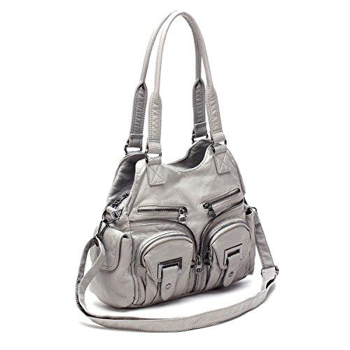 21KBARCELONA  2 Top Cerniere multi tasche Borse Lavato borse in pelle borse a spalla XS160198 Grigio
