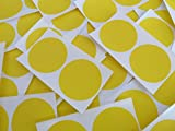 Minilabel 50mm (2 Inch) Round Circular Self-Adhesive Sticky Dot Labels, Coloured Stickers - Yellow Circles (Pack of 50)