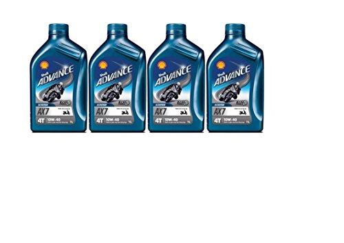 SHELL ADVANCE 4T AX7 10w40 4 barattoli da 1 litro = 4 lit