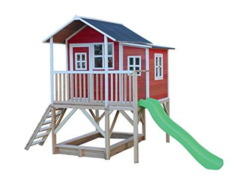 EXIT Loft 550 rotbraun / Spielhäuschen auf Stelzen mit Veranda+Rutsche + Sandkasten / Zedernholz /...