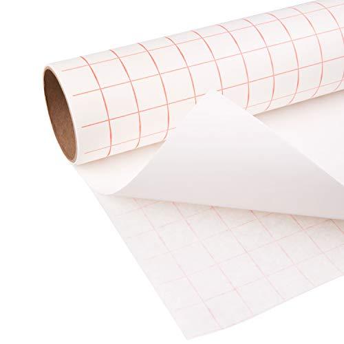 TRANSFER PAPIER mit Gitterraster – 30.5 cm x 2.4 m Rolle – Perfekt für Vinyl Klebefolien von CRICUT, CAMEO u.a. – Perfekt für Wände, Schilder, Aufkleber, Fenster und glatte Oberflächen - 2