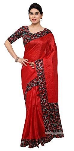 Rajnandini Women's Tussar Silk Kalamkari Printed Saree(JOPLNB6004D_Red_Free Size)