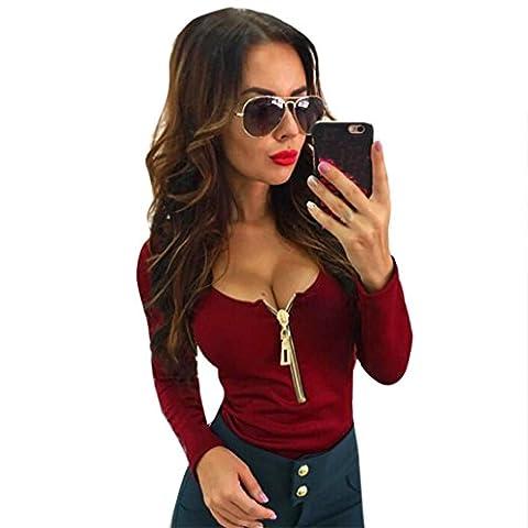 Tops Femmes LMMVP Sexy Fermeture éclair Casual col en V T-shirt à manches longues (l, vin)
