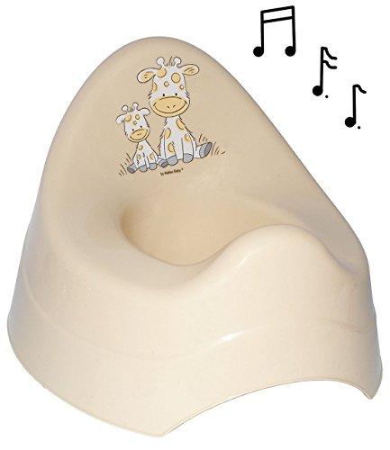 Unbekannt Töpfchen / Nachttopf - mit Musik & Sound - groß - mit großer Lehne + Spritzschutz -  Giraffe - Creme  - Babytöpfchen / Kindertopf / Lerntöpfchen - Toiletten..