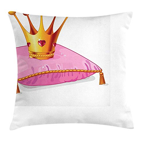 Royalty Velour (K0k2t0 Princess Throw Pillow Cushion Cover, Gold Yellow Tone Crown on The Pink Pillow Cartoon Style Diamond Figures Royalty, Decorative Square Accent Pillow Case, 18 X 18 inches, Pink Orange)