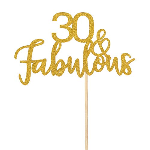 30 & Fabulous Cake Topper - Hello 30 - Dirty Thirty Cake Topper - 30th Birthday/Wedding Anniversary Party Dekoration (Dekorationen 30th Anniversary)