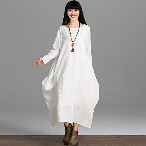 YAN Frauen-beiläufiges loses Kleid-feste lange Hülsen-Baumwollleinen-asymetrisches Boho Midi langes Kleid-Partei, Strand, tägliches beiläufiges, zu Hause (Farbe : Weiß, Größe : L)