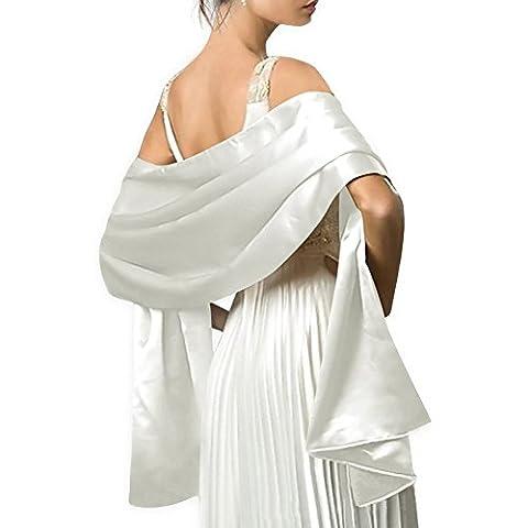 Écharpe Châle Étole en Satin Femme Wrap Foulard Pashmina pour Soirée Cérémonies Fêtes Mariage (240cm*75cm, blanc)