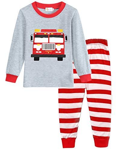 Schlafanzug Jungen Langarm Zweiteiliger Baumwolle Kinder Nachtwäsche Dinosaurier Bagger Feuerwehrauto Zug 92 98 104 110 116 122 (104 (HerstellerGröße: 110), Feuerwehrauto 2)