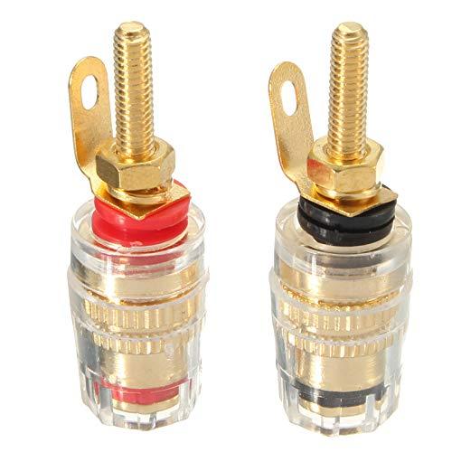 LaDicha 2Stücke Gold Plated Binding Post Verstärker Lautsprecher Stecker Audio Connector Für 4Mm Bananenstecker Gold Plated Binding Post-terminals
