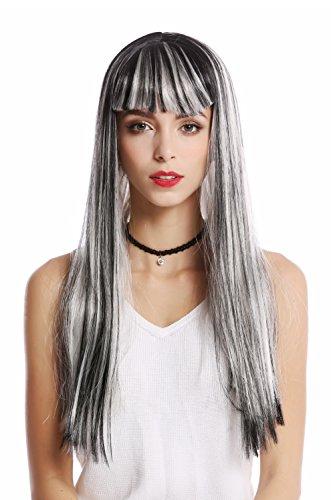 WIG ME UP ® - 90770-ZA68C+ZA103 Peluca Mujer Halloween Carnaval Gris Liso Largo Flequillo Disco Alien Hada Bruja