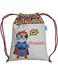 Bolsa mochila superhéroe confeccionada en loneta y personalizada con el  nombre bordado (30 x 37 fbc359e7d1f