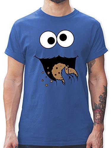 Karneval & Fasching - Keks-Monster - XXL - Royalblau - L190 - Herren T-Shirt und Männer (Wirklich Coole Superhelden Kostüm)