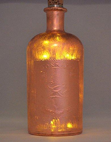 Dekoflasche, gestaltet mit Blattkupfer, mit LED beleuchtet