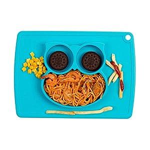 Kinder Platte Lebensmittelqualität Silikon Platte Pad Baby Platte Rutschfeste Silikon Tischset (Blau)