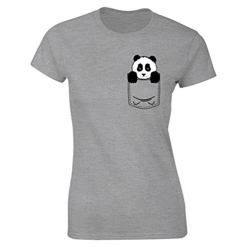 835fce88 Womens Pocket Panda Bear Cute Animal Print T-shirt Heather Grey UK 8-10