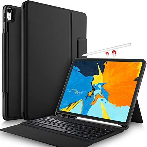 Yocktec Tastatur Hülle für iPad Pro 12.9 2018 [QWERTZ Deutsches Layout], Leicht Alles-in-Einem Bluetooth Tastatur Schutzhülle mit Standfunktion für Apple iPad Pro 12.9 Zoll 2018 Tablet (Schwarz) - 12-zoll-tablet-tastatur-fall