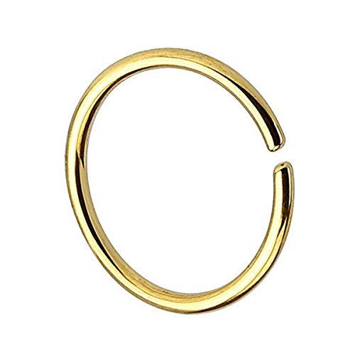Piersando Continuous Piercing 925 Silber Fake Hoop Ring für Septum Ohr Tragus Helix Nase Lippe Ohr Nasenpiercing Nasenring Gold 1,0mm x 10mm