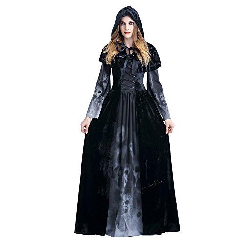 Schädeldruck Hexenkostüm Vampir Kleidung Königin Kostüme Cosplay Karneval (Sexy Für Halloween Erwachsene Kostüme)