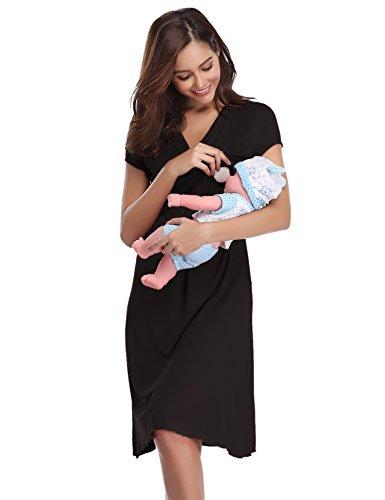 Hawiton Damen Umstands Kleid Nachthemd für Schwangerschafts Umstandsmode Stillnachthemd Kurz V Ausschnitt mit Wickeloptik Schwarz S -