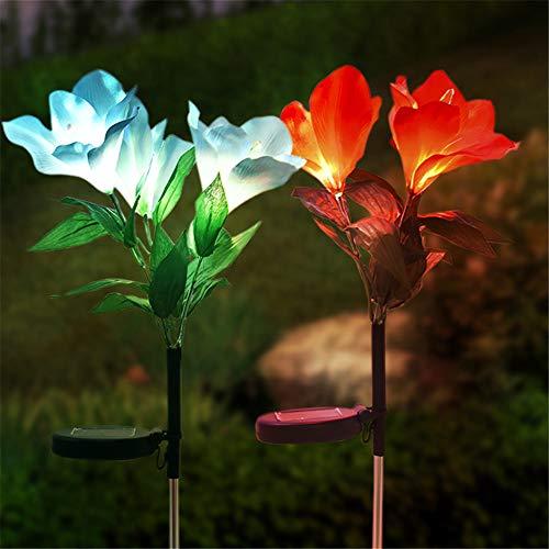 Solar Blume Lichter Im Freien, TechCode Neue Verbesserte 7 Farbwechsel LED Licht Orchidee Blume Licht für Gartenterrasse Rasen Hof Weg Hinterhof Party Urlaub Dekoration (2 Paket)