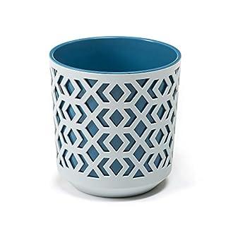 Lamela AZTEK Flowerpot | Flower casing | colourful planters indoor/outdoor pots (Ø 19,5, H:20 cm, light grey + blue)