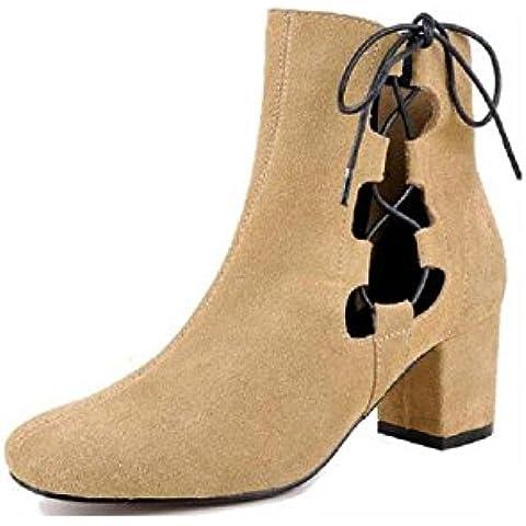 YYH Helado de moda hueco botas botas de cuero botas respirable de la mujer . yellow . 34