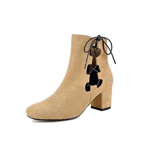 YYH Moda stivali cava glassato stivali in pelle stivali da donna traspirante . yellow . 34