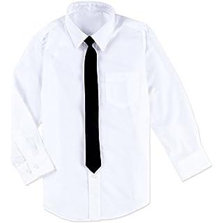 1000-ting.com ApS Boys White Dress Shirt with Black Tie/Formal Boys Shirt (6 Years)