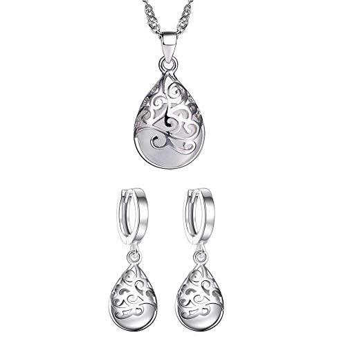 Damen-Schmuckset Krone Halskette Anhänger + Ohrstecker, S925 Silber (Edelstein)