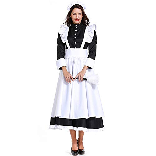 WEGCJU Chef Magd Kostüm Rollenspiel Haushälterin Magd Service Halloween Kostüm Ball Film Kleidung,White-S (Halloween-kostüme Beliebten Weiblichen)