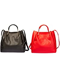 2 Pack Of Women'S Pu Leather Satchel Handbag - Available In 5 Colors F7292 (Black & Red) By Jotw