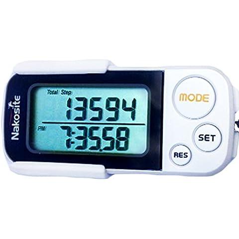 NAKOSITE Ruta Perfecta es un Podómetro en 3D con Correa y Fijador, Contador de Pasos Basado en Precisión, Calculadora de Distancia Corta (Kilómetros y Millas), Monitorización de Calorías Quemadas, Modo Ejercicio, Rastreador de Rendimiento Diario, Memoria Diaria de 30 Días, Dispositivo Construido con Tecnología Tri -Axis (Basada en Sensores), Acabado Blanco y Fácil Lectura Digital del Monitor - BONO: Libro Electrónico Gratis + 365 Días de
