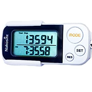 41h5FcX CZL. SS300  - NAKOSITE PED2433 Best Walking 3D Pedometer with Clip and Strap, Fitness Activity Step Counter, Calorie, Distance in Km and Miles, Large Display, 30 Days Memory, Beautiful!