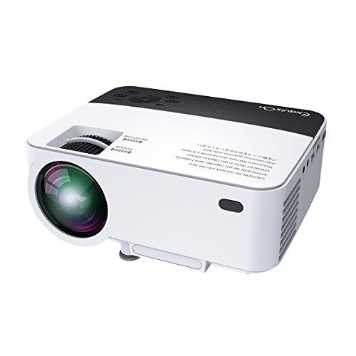 ExquizOn T5 - Mini LED LCD Projektor Beamer mit 1800 Lumen IR Sensor 1080P Multi Screen für Smartphone Tablet Heimkino Unterhaltung Spiele (Schwarz & Weiß)