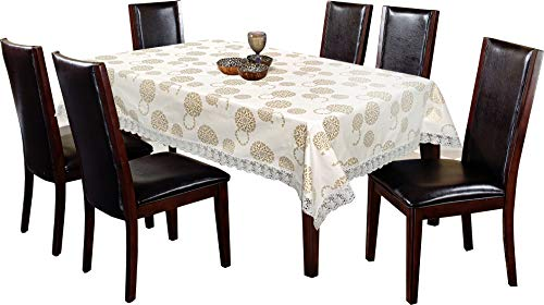 Kuber Industries PVC 6 Seater Dining Table Cover (White) -CTKTC08650