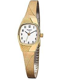 Regent Damen-Armbanduhr Elegant Analog Edelstahl-Armband gold Quarz-Uhr Ziffernblatt weiß URF624
