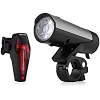 Poweradd StVZO zugelassen LED Fahrradlicht Set, inkl. Frontlichter und Rücklicht, Wiederaufladbare Fahrradbeleuchtung Set mit hellen Leuchten und Einfacher Installation, energiesparend, Regen- und Stoßfest