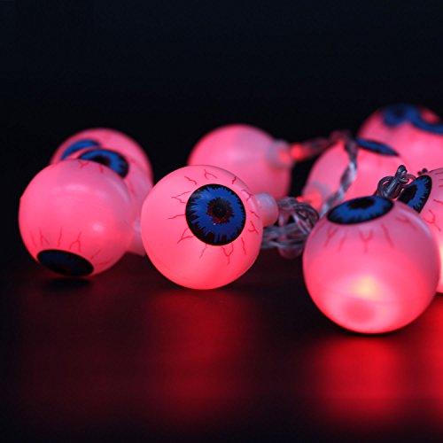 Xcellent Global Halloween Augapfel Licherkette 20 LEDs 7.2ft Batteriebetrieben für Innendekoration - Beängstigend Halloween-diy-dekorationen