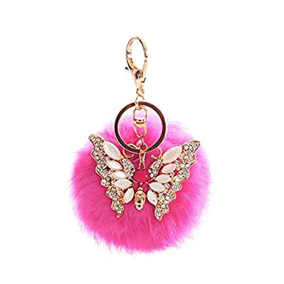 Ouneed Cute Rabbit Fur Ball Key Ring, Rhinestone Butterfly Keychain Bag Plush Key Ring Car Key Pendant