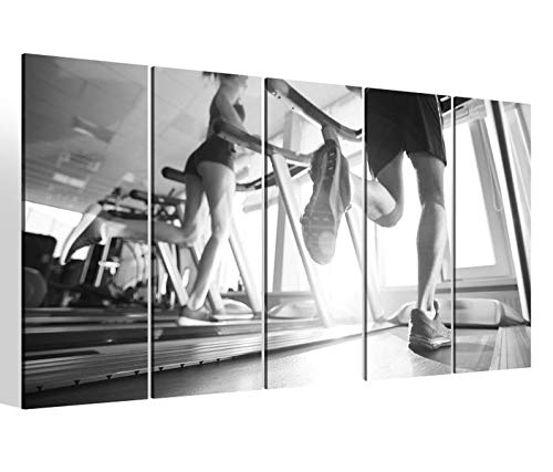 Leinwandbilder 5 teilig XXL 200x100cm schwarz weiß Laufband Sport Fitness fitnessstudio Druck auf Leinwand Bild 9BM2270 -