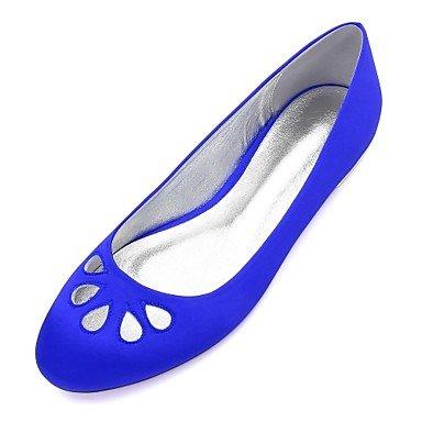 Rtry Chaussures De Mariage Pour Femmes Satin Comfort Spring Summer Wedding & Amp; Robe De Soirée Bowknot Strass Heelivory Plat Champagne Bleu Rubis Us8 / Eu39 / Uk6 / Cn39