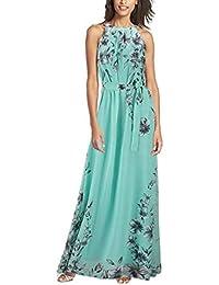 Minetom Damen Mode Sommerkleid Maxikleid Strandkleid Lang Chiffon Böhmen  Floral Gefaltete… 6603983cc0
